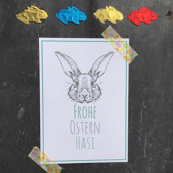 Postkarte mit gestanzten Hasen