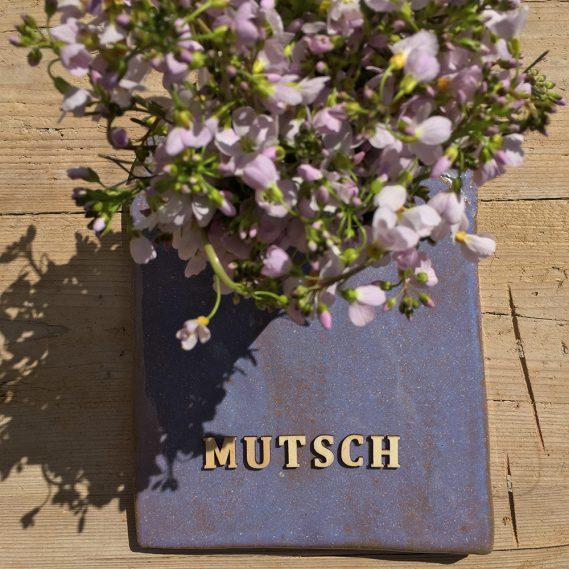 Wiesenschaumkraut, Schriftzug Mutsch, kleines Mutschblumenstillleben