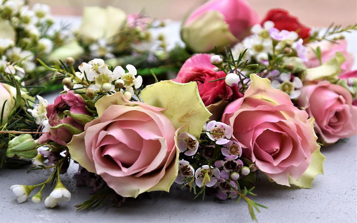 Blumenkranz, Blumenliebe, verliebt, Frühling, inspiriert, Frühlingsgefühle, Rosen, Wachskraut, Kranzliebe