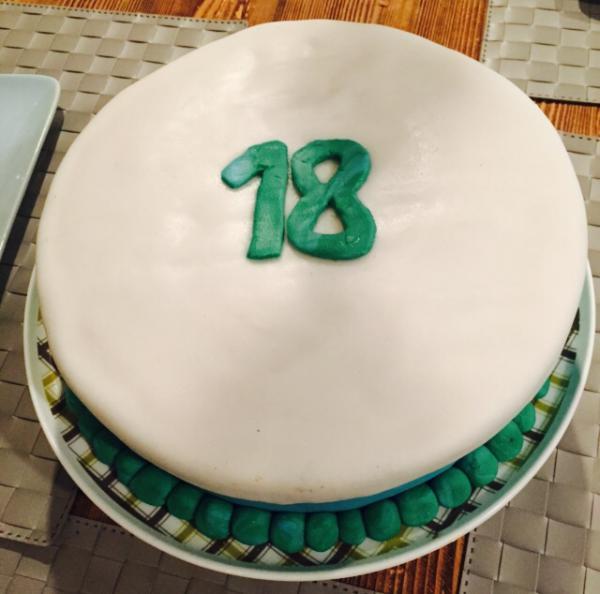 Geburtstagstorte, 18, Happy Birthday, Feierlaune, Selbst gebacken