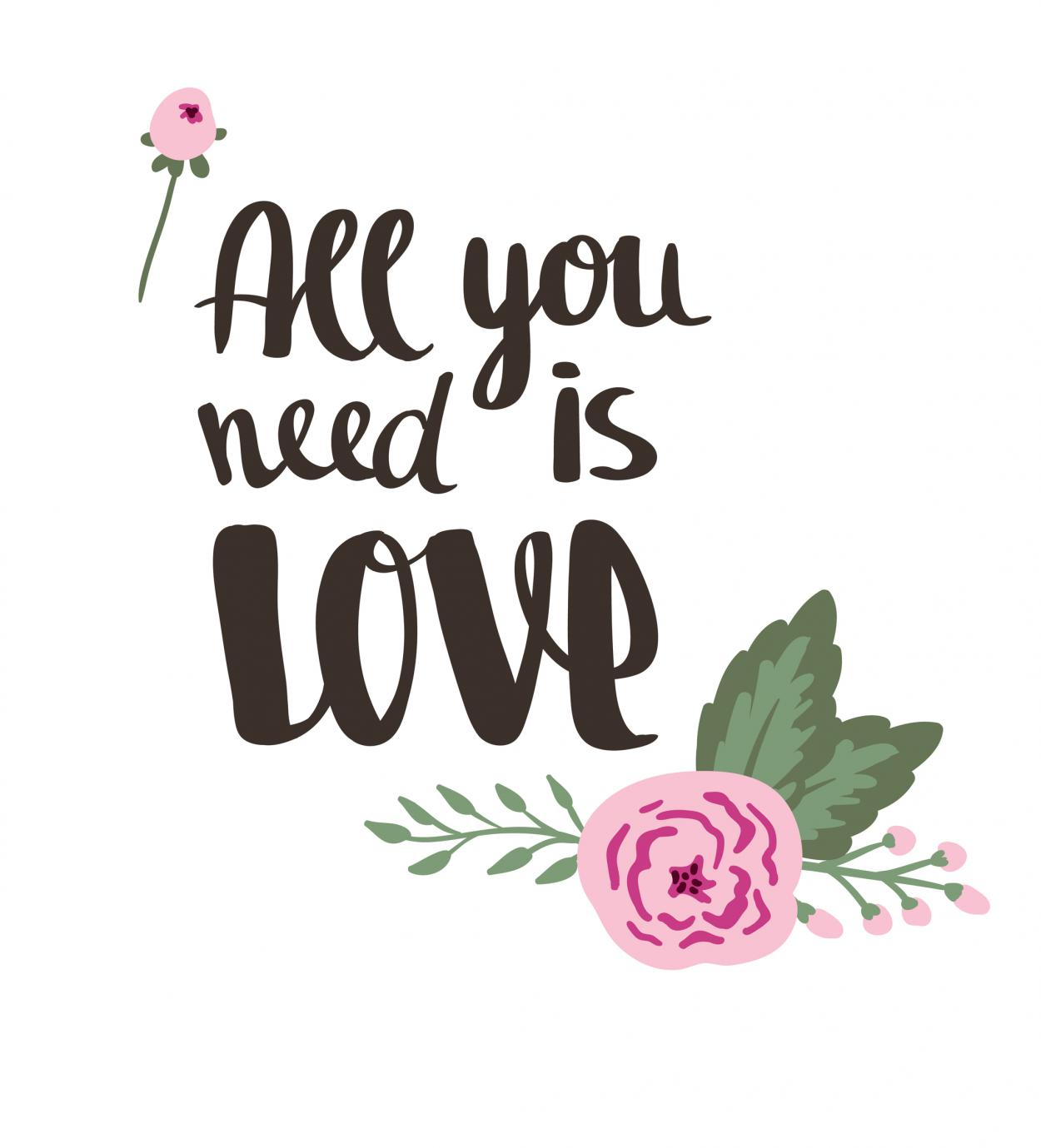 Lettering, All you need, Free Printable, blumig, Liebe, Hochzeit, Pfingsten