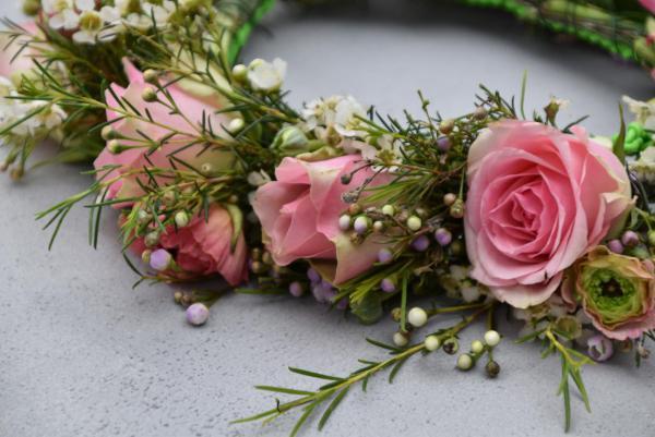 Blumenkranz, Rosen, Wachsblumen, Haarkranz, Geburtstagskränzchen