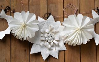 Weiße Papierblumengirlande selbstgemacht, DIY, Feierlaune, Partydekoartion, Terrassendekoration, inspiriert, Living at Home, Papierliebe, Tapete, Butterbrotstüten