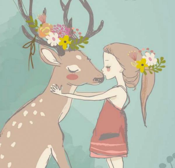 Illustration Mädchen mit Reh mit Blumenschmuck, Geburtstagskuß, Liebe, Feierlaune, geschmückt