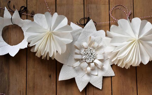DIY, Papierblumengirlande, Dekoration, Blumengirlande, Hochzeit, Gartenfeste, Blumen, Garten, selbstgemacht