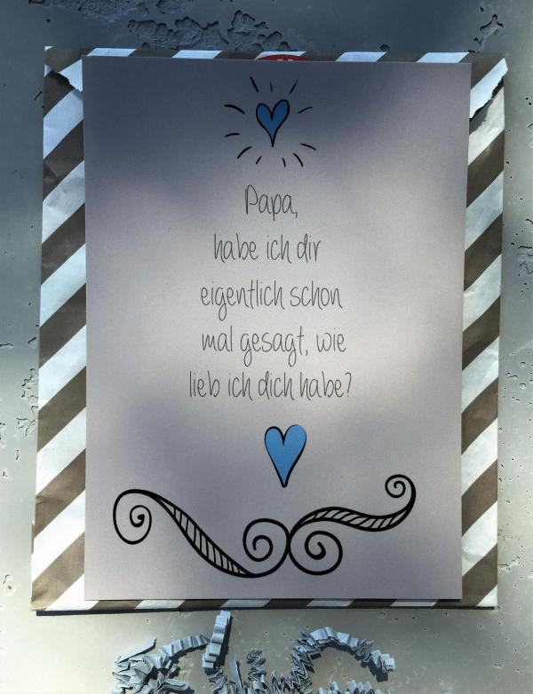 Postkarte Papa, Detail Für Papa Tüte, Vatertag, Wunderle, Geschenkideen, gefertigt in Werkstätten für behinderte Menschen, Kleinigkeiten