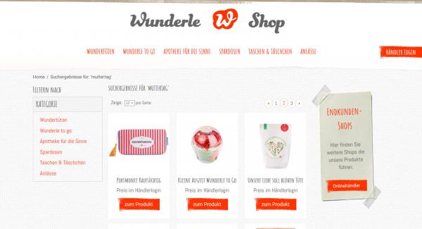 Wunderle Händler Shop, Screenshot, Muttertagsartikel Wunderle, Muttertag, Geschenkideen, kleine Wunder, gefertigt in Werkstätten für behinderte Menschen