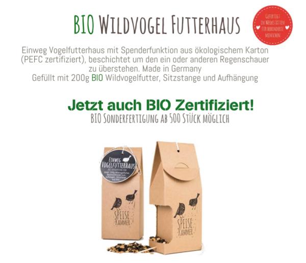 Bio Wildvogel Futterhaus, Speisekammer, Sonderanfertigung möglich, nachhaltig, Vogelfreund, aus dem Wunderle Katalog, Wunderle Shop