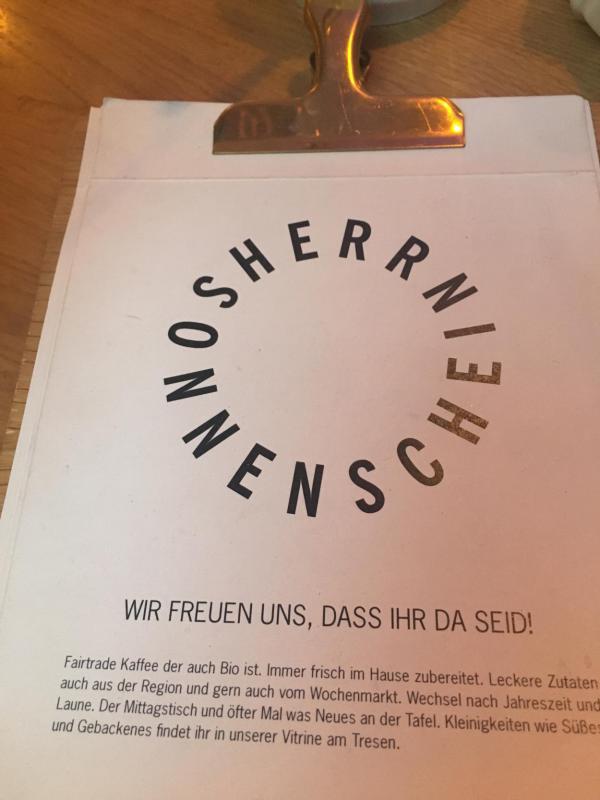 Karte Herr Sonnenschein, Cafe in Münster, Lieblingsausflugsziel um die Ecke, sehr empfehlenswert, herzlich, charmant