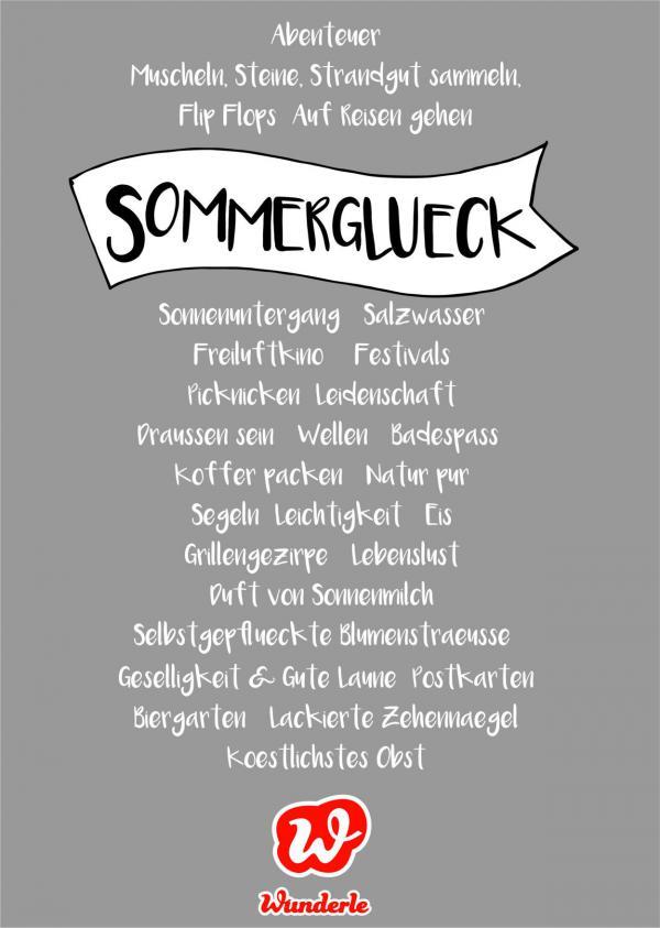 Sommerglück, Textbild, Lettering, Assoziationen Sommer, Lieblingsbeschäftigungen Sommer