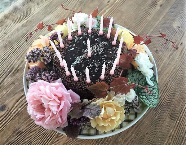 Geburtstagskuchen, Happy Birthday, Kerzen, Geburtstagsparty, Sommerkind, geschmückt, Blumen