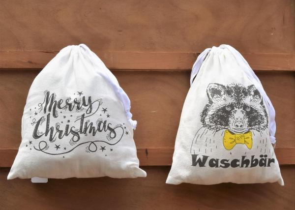 Wunderle, Baumwolltaschen, Waschbär, Merry Christmas, praktisch, Geschenkideen