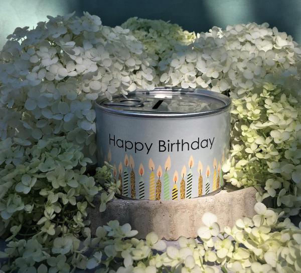 Spardose, Happy Birthday, Kerzen, Holunder, Sommergeburtstag, Geschenk, Kleinigkeit