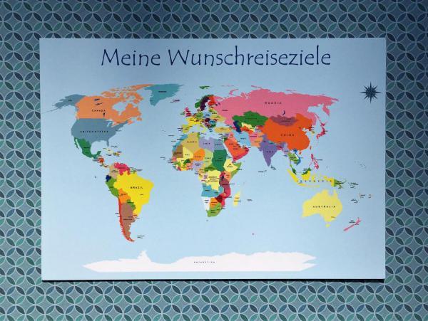 Postkarte, Weltkarte, Reiseziele, Reiselust, Sommerferien, Grüße