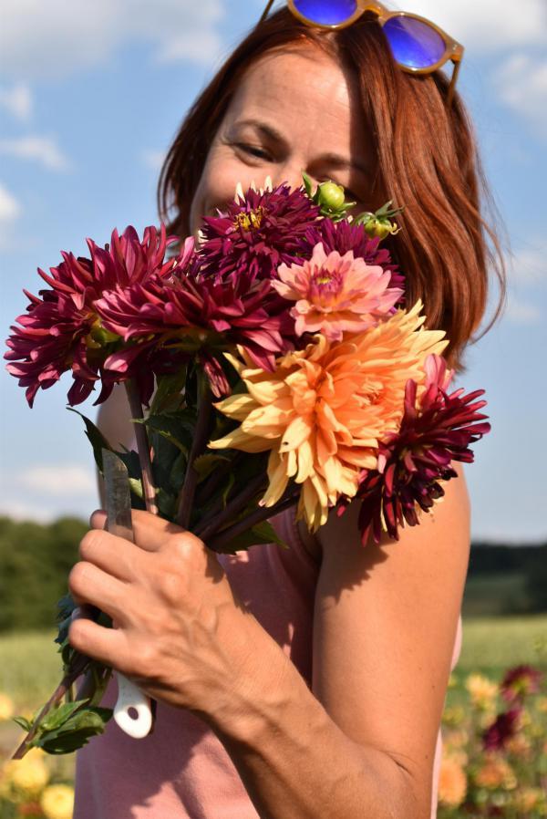It´s me, Selfie, Dahlienstrauß, Herbstfarben, Blumenstrauß