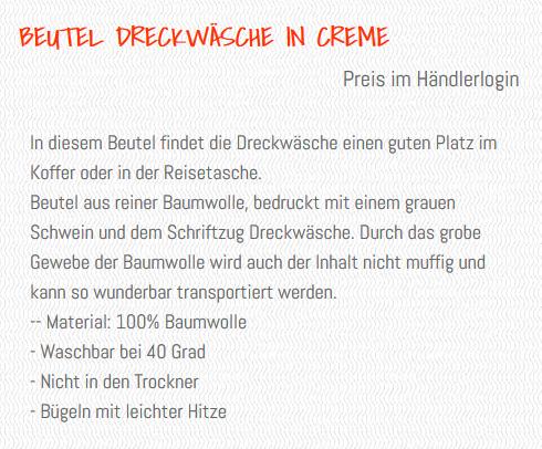 Wunderle Text Baumwollbeutel, Auszug Online Shop, Beschreibung Baumwollbeutel, Details