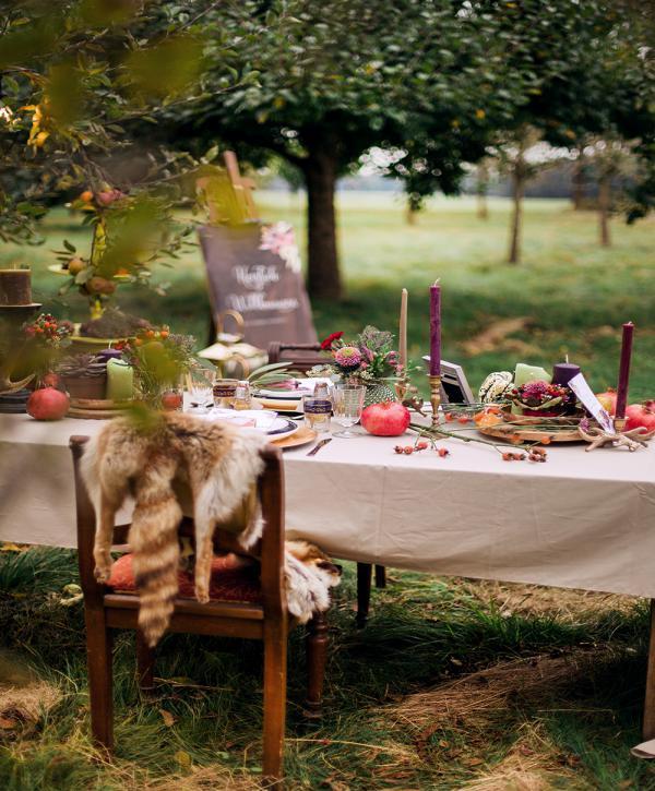 Festlicher Tisch, Herbstdeko, Pummelchensaison, Hochzeit
