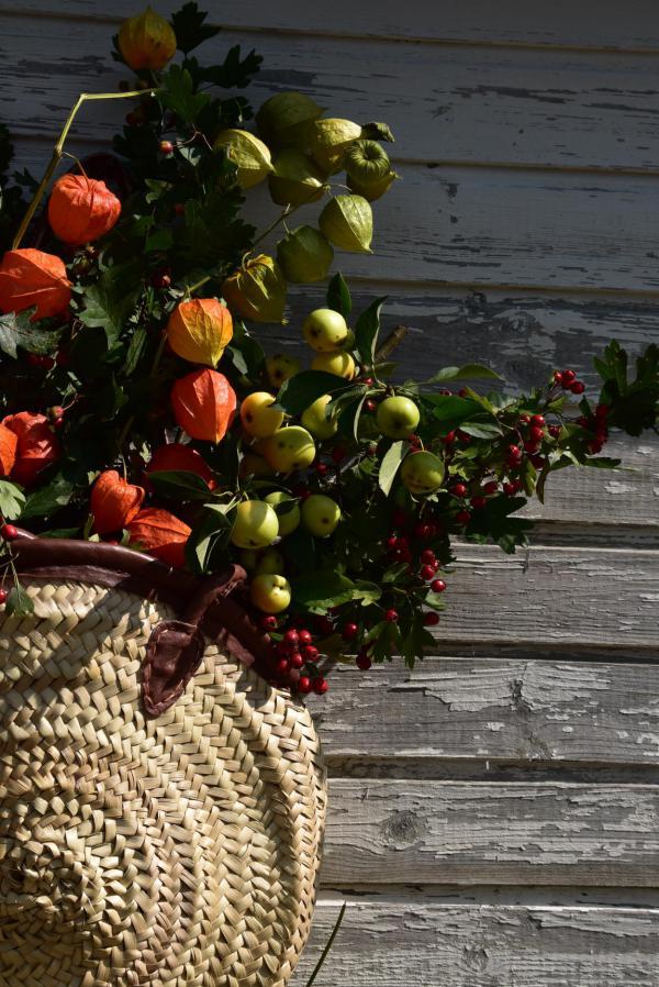 Herbstkorb, Herbstboten, Lampionblumen, Wildäpfel, Beeren