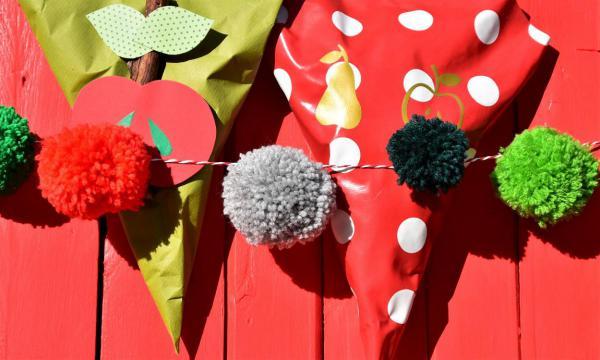 Bommelgirlande, Apfeltüten, DIY, selbstgemacht, Herbst, Dekoration