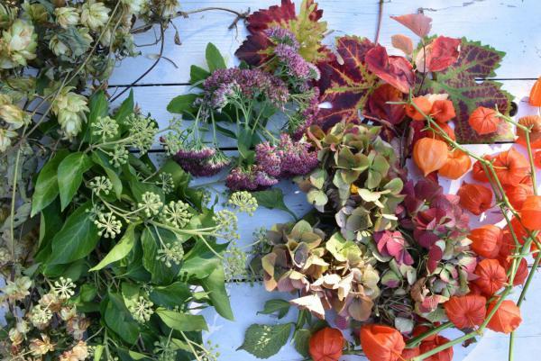Herbst,DIY, Naturmaterialien, Hopfen, Wein, Lampionblumen, Kränze binden