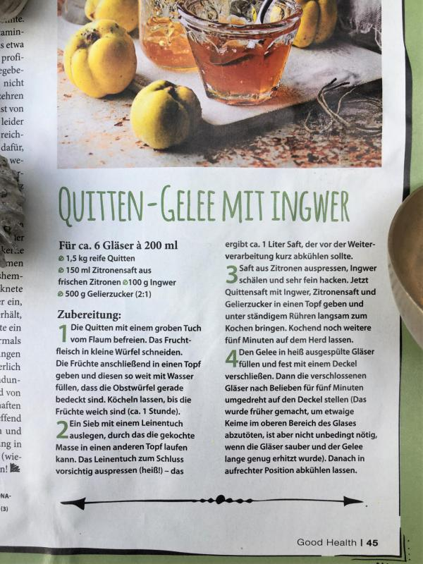 Good Health, Rezept, Zeitschrift, Lecker, Quittengelee mit Ingwer, Herbstküche, Herbstzeit