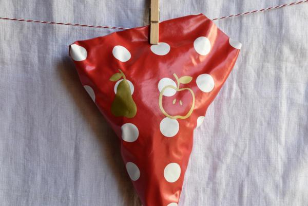 Wachstuchtüte, Obst, Apfel Birne, Herbst, lecker