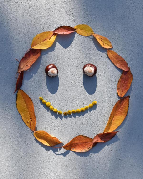 Herbst, DIY, Smiley aus Herbstaccessoires, Lächeln, goldener Oktober