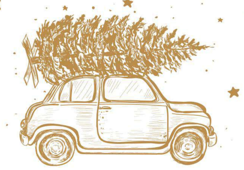 Illustration, Wagen mit Tannenbaum, Weihnachten, Advent, Weihnachten entgegen rollen