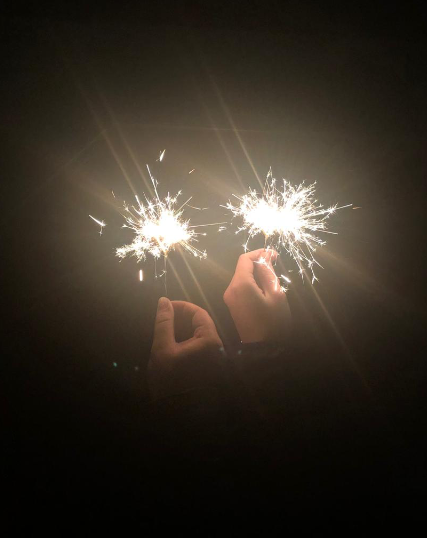 Wunderkerzen, Hände, Hoch die Hände, Feierlaune, Silvester, Jahreswechsel, Willkommen 2019