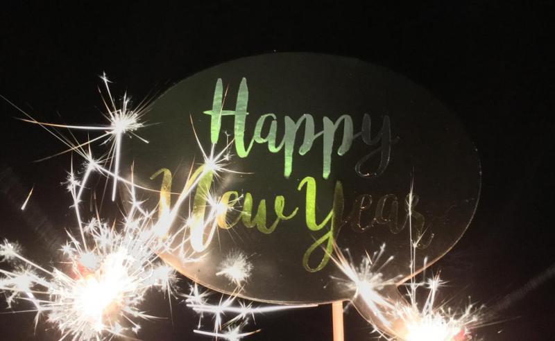 Happy New Year, Wunderkerze, Silvester, Jahrewechsel, Feierlaune, Willkommen 2019, Happy New Year