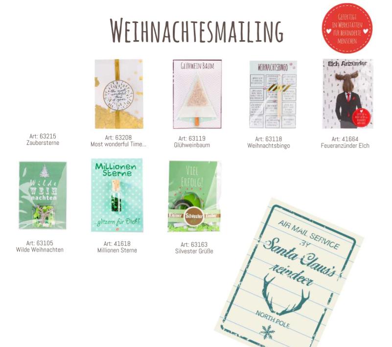 Weihnachtsmailing-Artikel, Katalog Wunderle, Kleinigkeiten, Giveaways, Reminder
