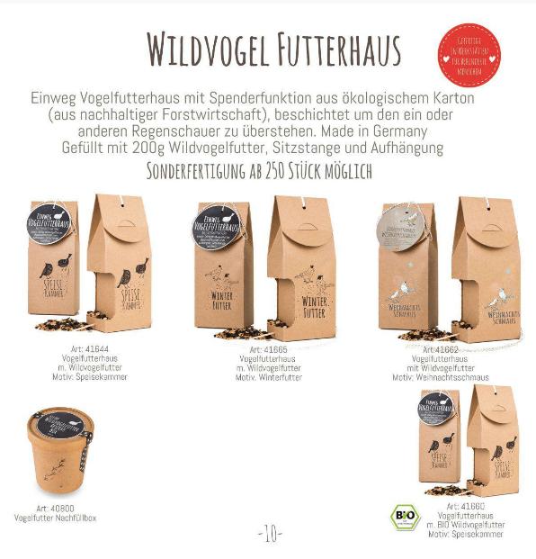 Wildvogel Futterhäuser, Speisekammer, Vogelfreund, Winter,Wunderle, gefertigt in Werkstätten für behinderte Menschen, Katalog