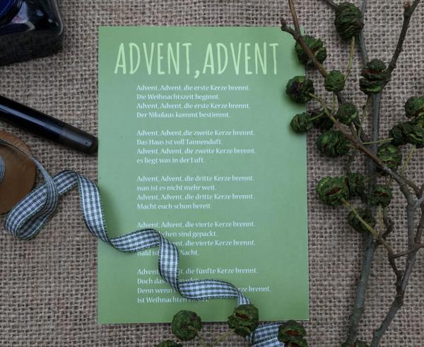 Advent Advent, Postkarte, Detail Wundertüte, die kleinen Dinge, Weihnachten, Advent