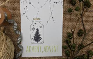 Advent Advent, Postkarte, Detail Wundertüte, die kleinen Dinge, Weihnachten, Tannenbaum, Weihnachtszauber