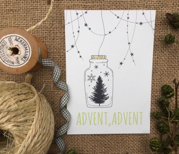 Advent Advent, Postkarte, Detail Wundertüte, Weihnachten, Weihnachtszauber, Advent, die kleinen Dinge, Geschenkideen