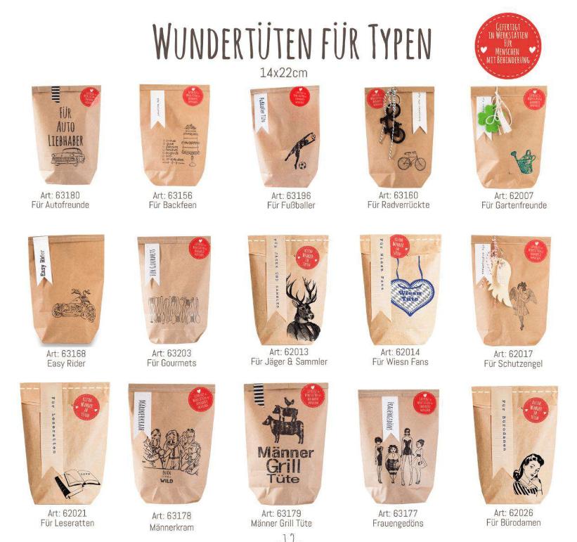 Wundertüten für Typen, Geschenkideen, Kleinigkeiten, Mitbringsel, charmante Nettiketten, gefertigt in Werkstätten für Behinderte Menschen