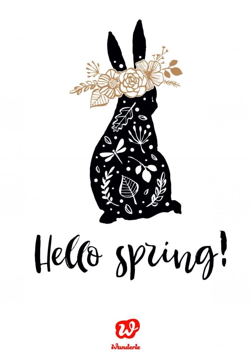 Hello Spring, Free Printable, Freebie, Hase, Blumen, for free