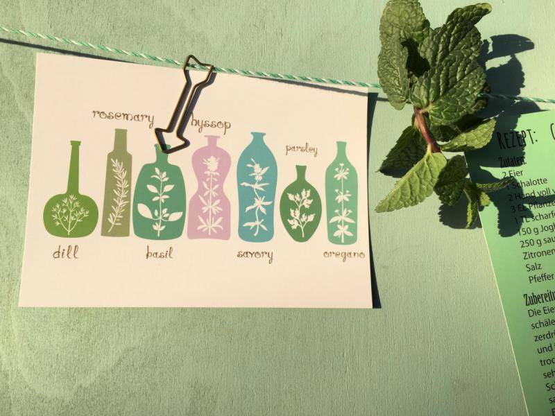 Wunderle, Detail, Postkarte, Kräuter, lecker, frische Minze