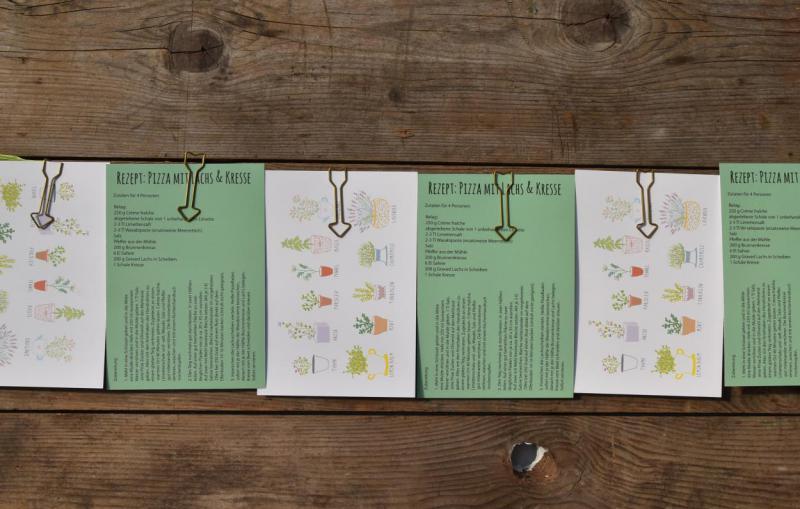Reihung Kräuterpostkarten, lecker, Frühling, Rezept, Wunderle, Detail, gefertigt in Werkstätten für behinderte Menschen