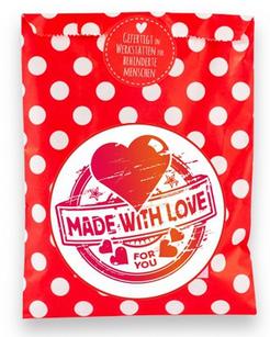 Wundertüte, made with Love, Liebe, mit Liebe gemacht, gefertigt in Werkstätten für behinderte Menschen