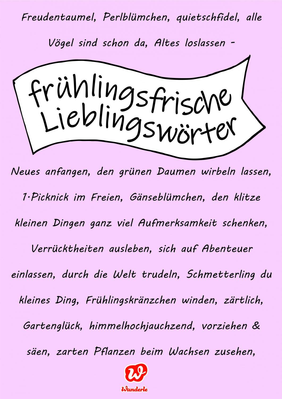 Frühlingsfrische Lieblingswörter, Frühling, Wortakrobatik, Assoziationen