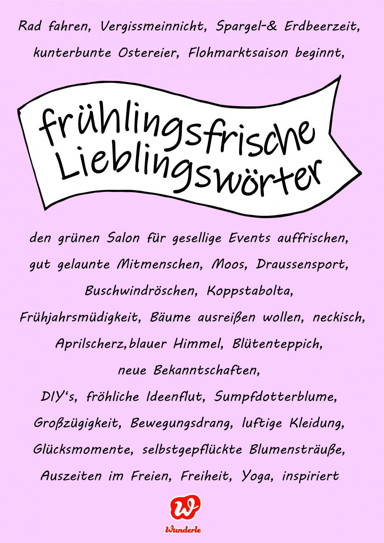 Frühlingsfrische Lieblingswörter, Frühling, Ostern, Frühlingsassoziationen, Lettering