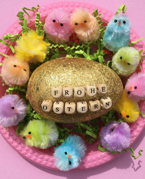 Frohe Ostern, Frühling, bunte Küken, poppig-bunt