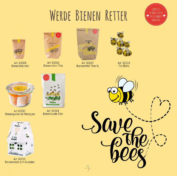 Save the bees, Wunderle Katalog 2019, Bienenrettung, Werde Bienenretter, Bieneretterprodukte