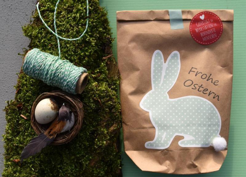 Wunderle, Wundertüte, Frohe Ostern, Osterhase, Frühling, Hasenschwänzchen, gefertigt in Werkstätten für Menschen mit Behinderung