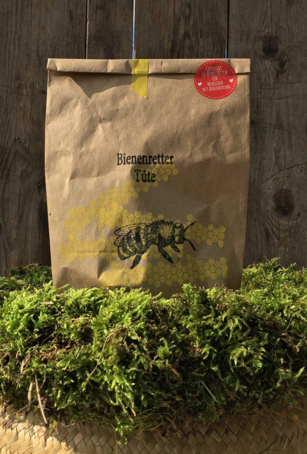 Wunderle, Bienenretter Tüte, Save the bees, Bienenrettung, gefertigt in Werkstätten füer Menschen mit Behinderung, Geschenkideen, Ostern