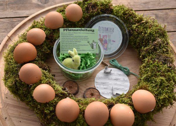Wunderle Osterwiese, frohe Ostern, Frühling, Tischdeko, Osterhase