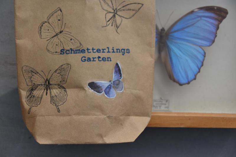 Wunderle, Schmetterlingsgarten, Wundertüte, Packpapiertüte, Frühling, Schmetterling, Ostern, bestempelt und beklebt