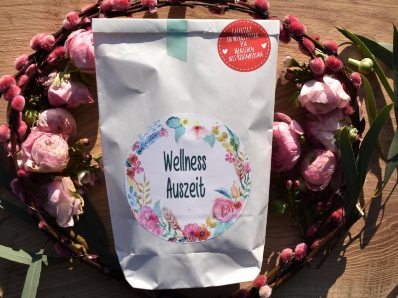Wunderlewundertüte, Wellness Auszeit, Blumenkranz, Frühling, gefertigt in Werkstätten für behinderte Menschen, Geschenkideen