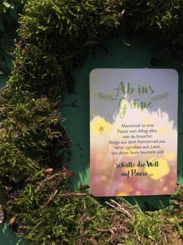 Ab ins Grüne, Achtsamkeitskarte, Erinnerung, Auszeit, Wellness